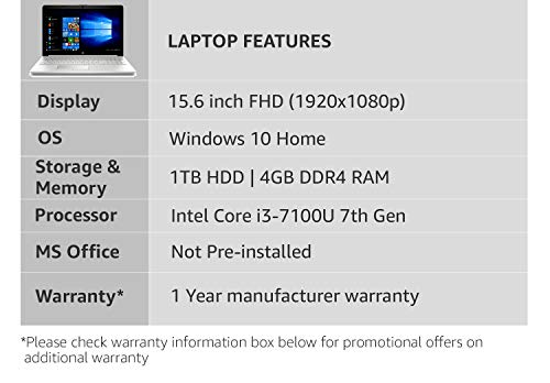 HP 15-DA0326TU Laptop (Windows 10, 4GB RAM, 1000GB HDD, Intel Core i3, Silver, 15.6 inch)