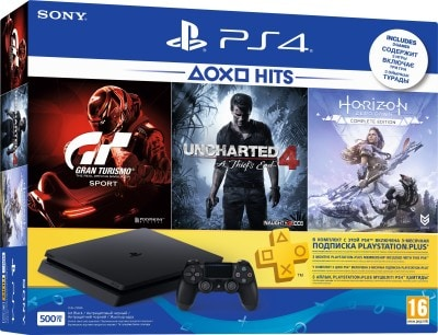 Sony Playstation 4 Slim (Jet Black, 500GB)