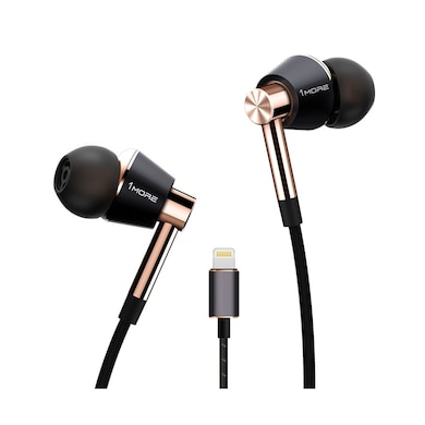 1More Triple Driver Lightning Earphones With In-built DAC, Mic Compatible With All iPhone/iPad Gold Price in India