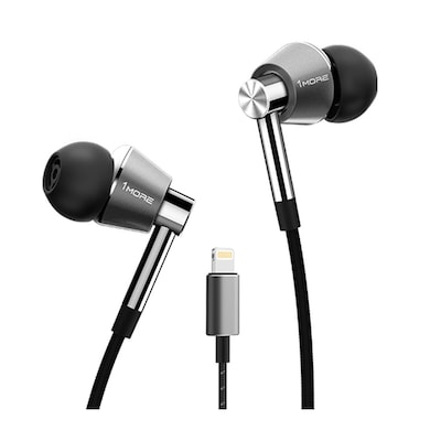 1More Triple Driver Lightning Earphones With In-built DAC, Mic Compatible With All iPhone/iPad Titanium Price in India