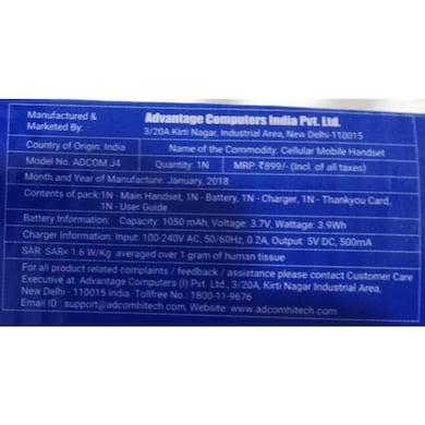 Adcom J4 Bluetooth, FM Radio, 1050 mAh Powerful Battery, Camera (White) Price in India