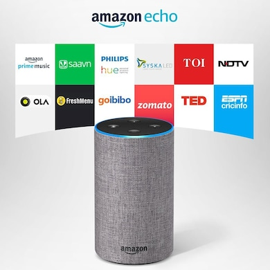 Amazon Echo - Voice control your music, Make calls, Get news, weather & more, Powered by Dolby Grey Price in India