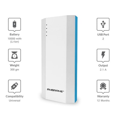 Ambrane P-1111 Power Bank 10000 mAh White and Blue images, Buy Ambrane P-1111 Power Bank 10000 mAh White and Blue online at price Rs. 799