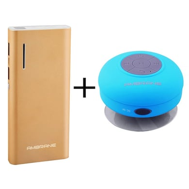 Ambrane P-1313 13000 mAh Power Bank + BT-3000 Shower Bluetooth Speaker with Mic Gold and Blue Speaker images, Buy Ambrane P-1313 13000 mAh Power Bank + BT-3000 Shower Bluetooth Speaker with Mic Gold and Blue Speaker online at price Rs. 1,199