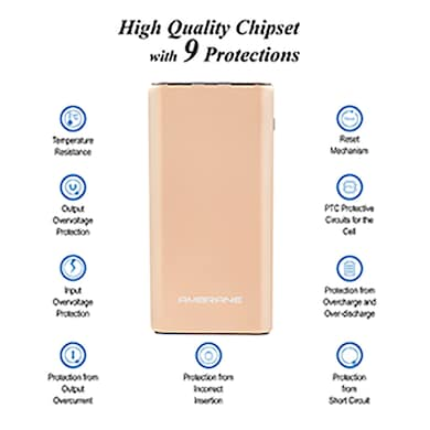 Ambrane Plush PP-1100 10000 mAh Power Bank Gold Price in India