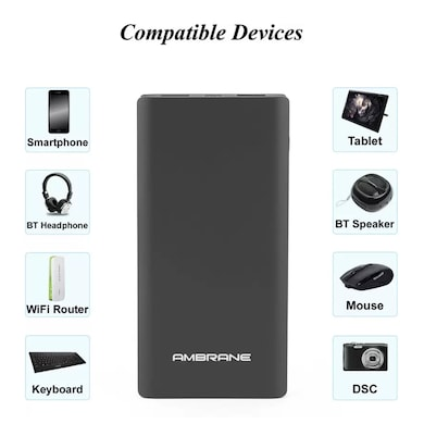 Ambrane Plush PP-1100 10000 mAh Power Bank Black Price in India