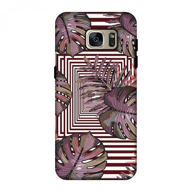 the best attitude 50b10 3e877 Amzer Hybrid Dual Layer Designer Case-Leaves Over Stripes-Forest Green For  Samsung Galaxy S7 Edge