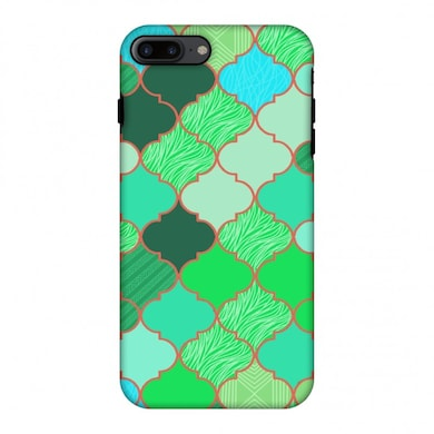 Amzer Hybrid Dual Layer Designer Case-Stained Glass-American Green For iPhone 7 Plus Multicolor Price in India