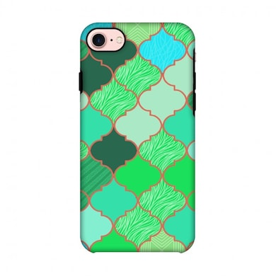 Amzer Hybrid Dual Layer Designer Case-Stained Glass-American Green For iPhone 8 Multicolor Price in India