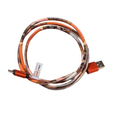 Callmate Leather Printed Data Cable For Micro USB Orange Price in India