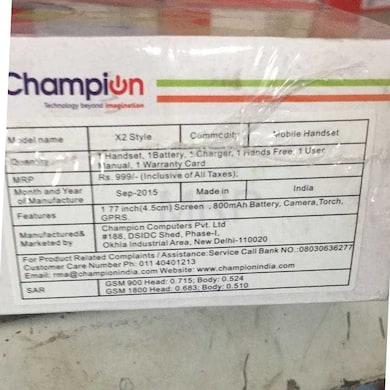 Champion X2 Sleek with 1.8 inch Display, Camera, FM Radio, Music Player (Black, 5MB RAM, 256MB) Price in India