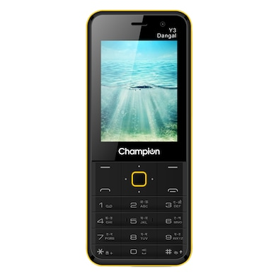 Champion Y3 Dangal,FM Player,Selfie Camera, Call recorder (Black and Yellow) Price in India