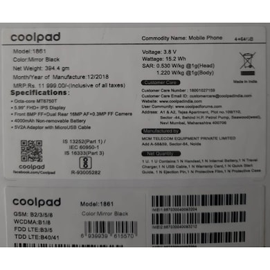 Coolpad Note 8 (Black, 4GB RAM, 64GB) Price in India