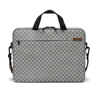 DailyObjects Dark Gray Swiss Dots City Compact Messenger Bag For Up To 15.5 Inch Laptop Or Macbook Multicolor Price in India