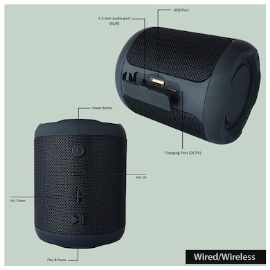 Detel Buzz Portable Wireless Speaker-Aux,Micro SD Card,USB Input,Speakerphone,Wireless Pairing Black Price in India