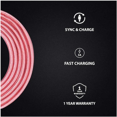 Detel (DI7i) Nylon Braided Fast Charging Cable for iPhone/iPod, 1.5 Mtr Rose Gold Price in India