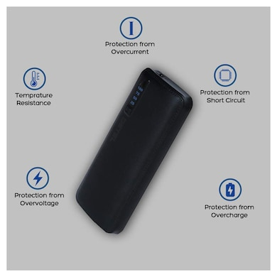 Detel Swag 10000 mAh Power Bank with Fast Charging,Digital LED Display and 3 USB Ports Black Price in India