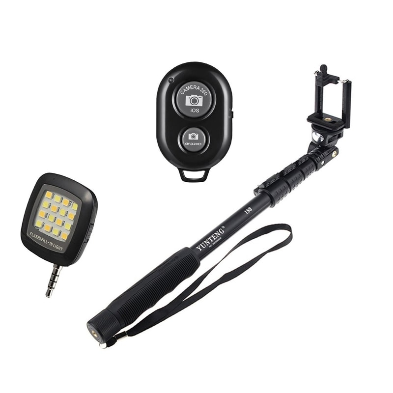 Buy ENRG Selfie Stick - Selfie Remote With Selfie Flash Light Combo Black online