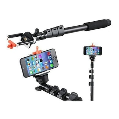 ENRG YT 188 Selfie Stick Self-Portrait Monopod With Bluetooth Remote With Stick Clip Black Price in India
