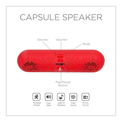 Essot Capsule Portable Wireless Bluetooth Speakers Red Price in India