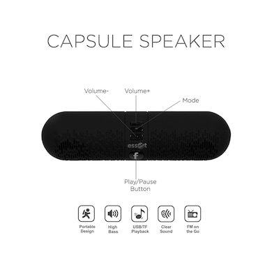 Essot Capsule Portable Wireless Bluetooth Speakers Black Price in India