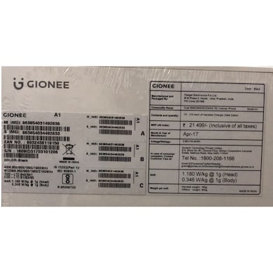 Gionee A1 Black, 64GB images, Buy Gionee A1 Black, 64GB online at price Rs. 11,299