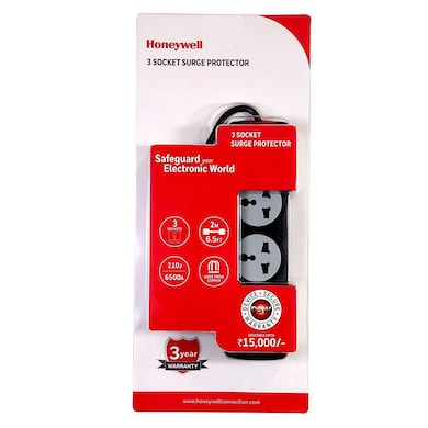 Honeywell 3 Socket Surge Protector With Master Switch Black Price in India