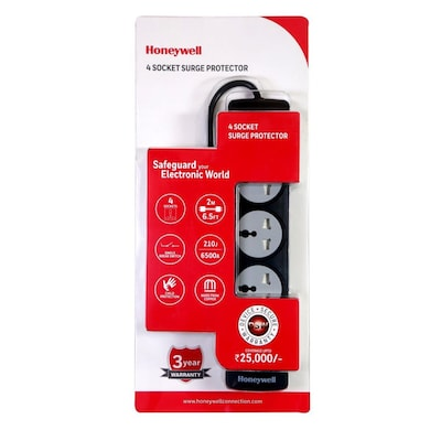 Honeywell 4 Socket Surge Protector With Master Switch Black Price in India