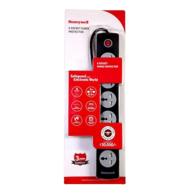 Honeywell 6 Socket Surge Protector With Master Switch Black Price in India