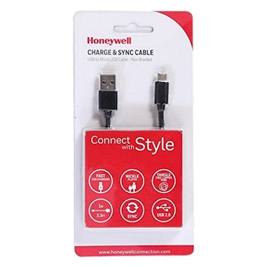 Honeywell USB to Micro USB Cable (Non-Braided)- 1 Meter Black Price in India