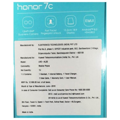 Honor 7C FullView Display (Blue, 3GB RAM, 32GB) Price in India
