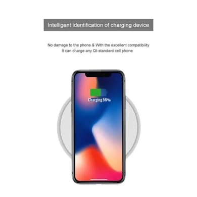 hoox Magic Plate Wireless Charging Pad for iPhone/Samsung ultra slim Aluminium with Tempered Glass White Price in India