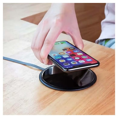 hoox Magic Plate Wireless Charging Pad for iPhone/Samsung ultra slim Aluminium with Tempered Glass Black Price in India