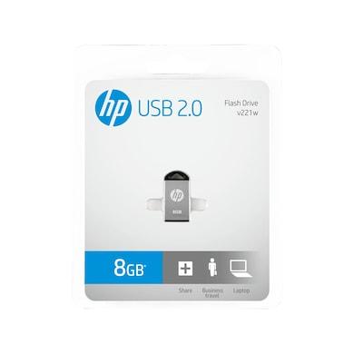 HP V 221 W 8 GB USB 2.0 Pendrive Metallic Silver Price in India