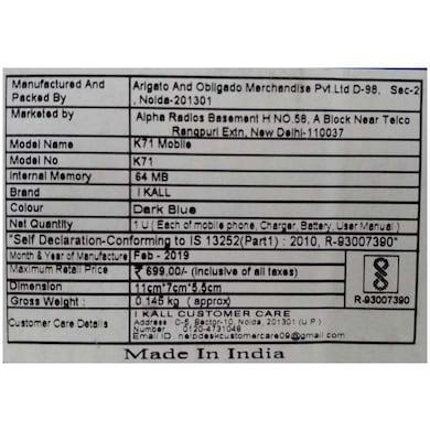 I Kall K71 1.4 Inch Display,1000 mAh Battery (Dark Blue, 64MB) Price in India
