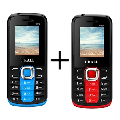 I Kall K99 Combo with,1000 mAh Battery,Bluetooth,Dual Sim (Black Blue and Black Red) Price in India