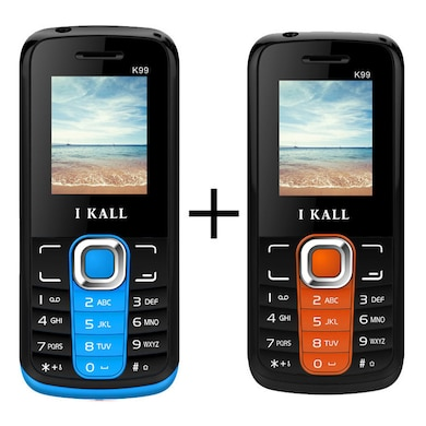 I Kall K99 Combo with,1000 mAh Battery,Bluetooth,Dual Sim (Black Blue and Black Orange) Price in India