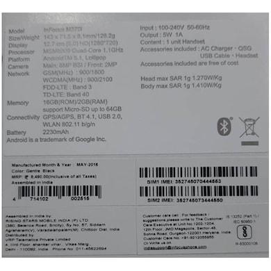 InFocus M370I (Black, 2GB RAM, 16GB) Price in India