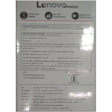 Lenovo A6600 4G VOLTE (Black, 1GB RAM, 16GB) Price in India