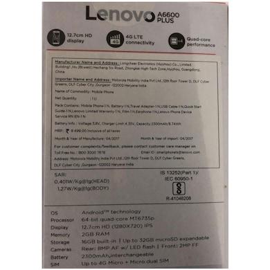 Lenovo A6600 Plus 4G VOLTE (Black, 2GB RAM, 16GB) Price in India