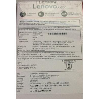 Lenovo A7700 4G VoLTE (Black, 2GB RAM, 16GB) Price in India