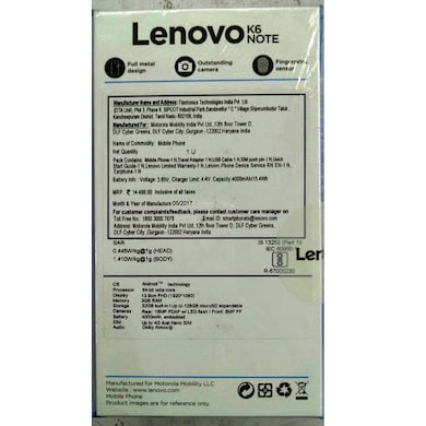 Lenovo K6 Note With 3 GB RAM Silver, 32 GB images, Buy Lenovo K6 Note With 3 GB RAM Silver, 32 GB online at price Rs. 8,149