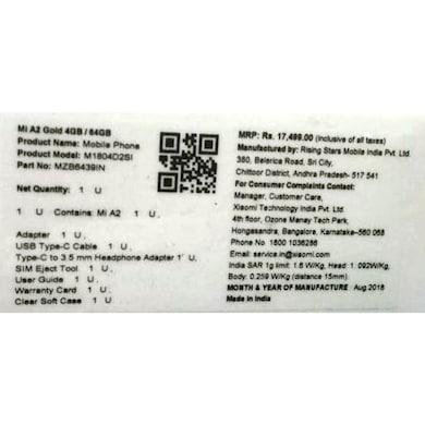 Mi A2 (Black, 4GB RAM, 64GB) Price in India