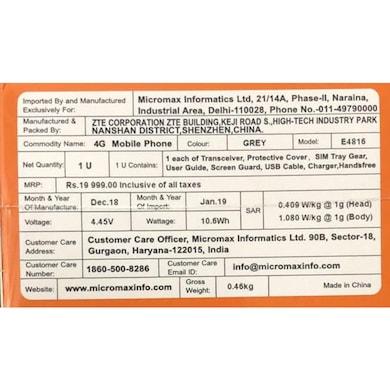 Micromax Dual 4 E4816 (Grey, 4GB RAM, 64GB) Price in India
