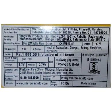 Micromax X773, 2.4 Inch Screen,Camera,Dual Sim (Champagne Gold) Price in India