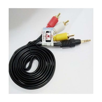 Mograb 3.5Mm Stereo Male To 3 RCA Male Audio Viideo AV Cable Multicolor Price in India