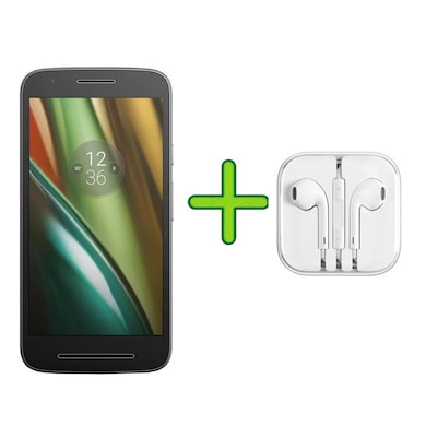 Refurbished Moto E3 Power +Free Earphone with Mic for All Android/iPhones (Black, 2GB RAM, 16GB) Price in India