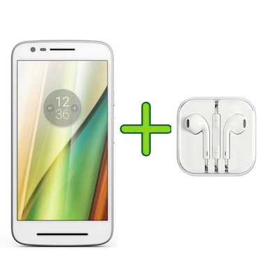 Refurbished Moto E3 Power +Free Earphone with Mic for All Android/iPhones (White, 2GB RAM, 16GB) Price in India