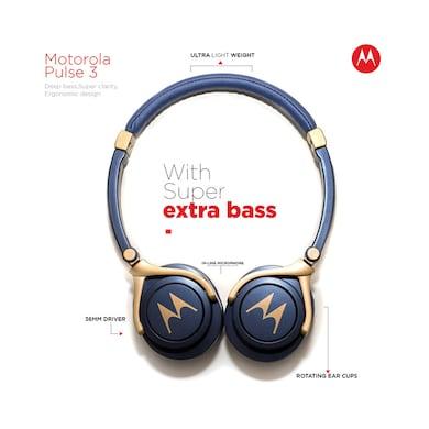Motorola Pulse 3 Headphones with One Touch Amazon Alexa with Mic Blue Price in India