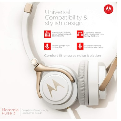 Motorola Pulse 3 Headphones with One Touch Amazon Alexa with Mic White and Gold Price in India